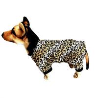 Adorable Padded Leopard Print Dog Pyjamas Jumpsuit Sleepwear Outfits