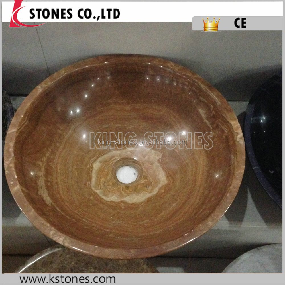 polished honed natural stone wooden marble artic stone sink vessel