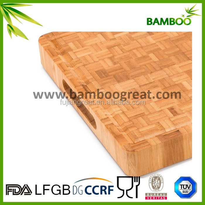 Teak Butcher Block - Rectangle Cutting Board With Hand Grip Organic Bamboo Butcher Cutting Block & Serving Tray Thick & Solid