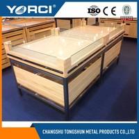 Custom retail store floor wooden tea display shelf/supermarket display ideas/wooden product display stands