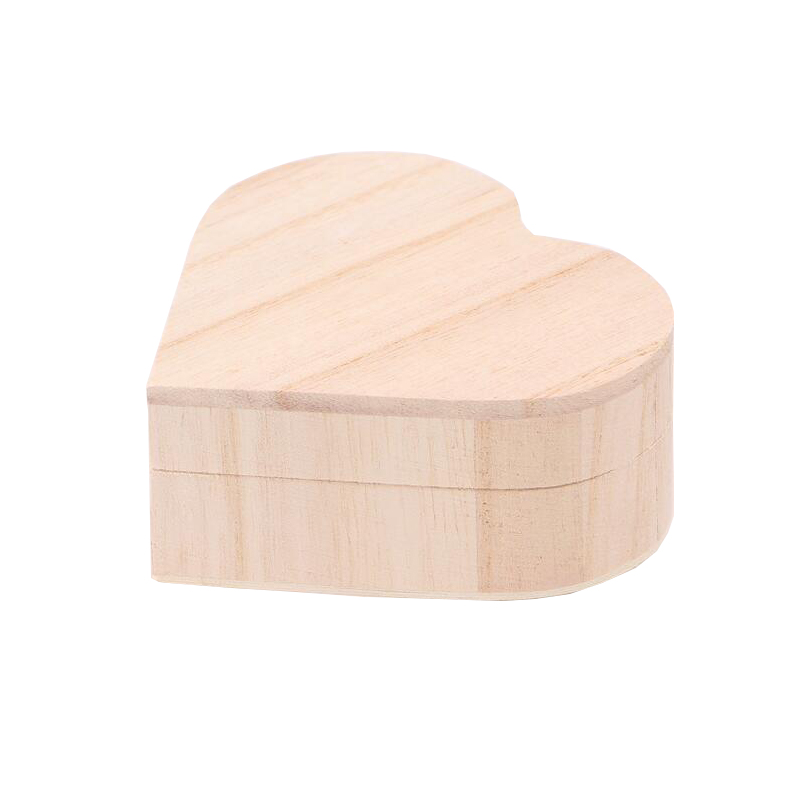 eco-friendly wooden heart-shaped jewelry box wooden decorative storage box magnetic gift box