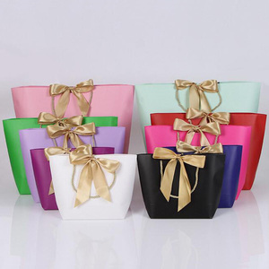 Decoration Handmade Elegant Wedding Gift Costume shopping Paper bag with Big Ribbon bowknot Closure