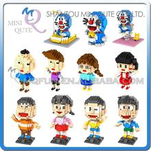 Mini Qute WTOYW LOZ Kawaii Anime Chi bi Maruko Doraemon time machine cartoon plastic cube building