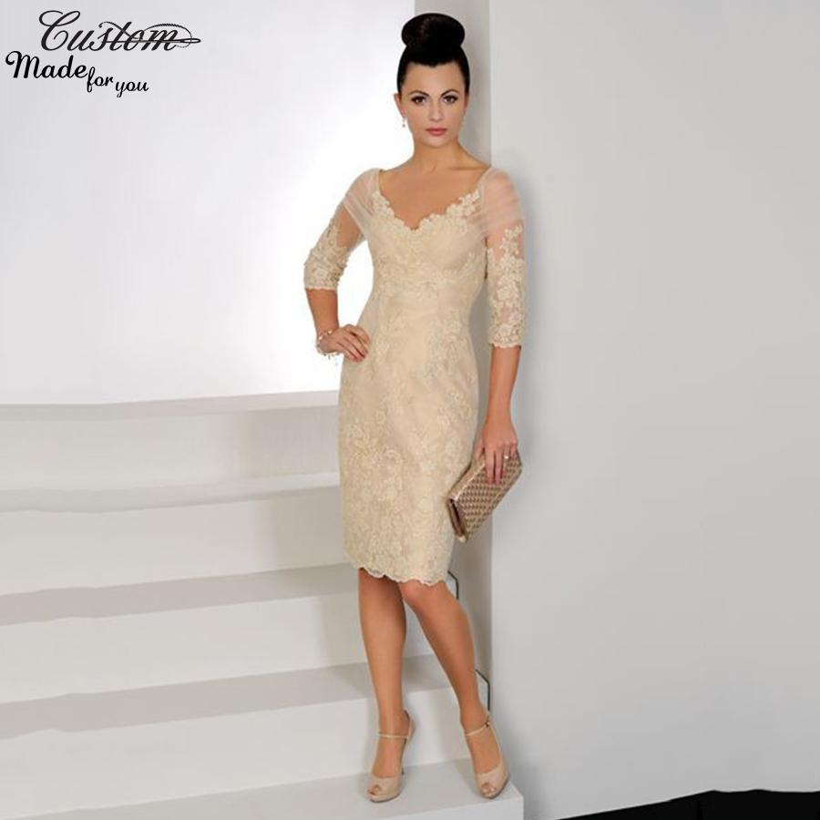 Champagne Lace Short Dress: Elegant Women Formal Knee Length Evening Dresses Short