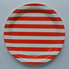 Party Tribes Hot Sale Free Sample/Deep Red Candy Stripe Plates Small