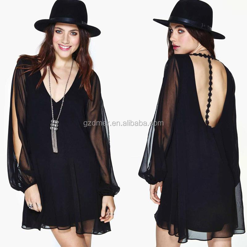 4ac984f94d25b مصادر شركات تصنيع فستان أسود طويل الأكمام خلفية مفتوحة وفستان أسود طويل  الأكمام خلفية مفتوحة في Alibaba.com