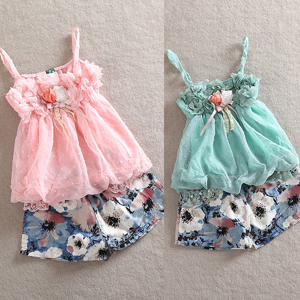 kids Outfits Girls Chiffon Straps Tops Floral Pattern Short Cute Costume 2Pcs1 5Y