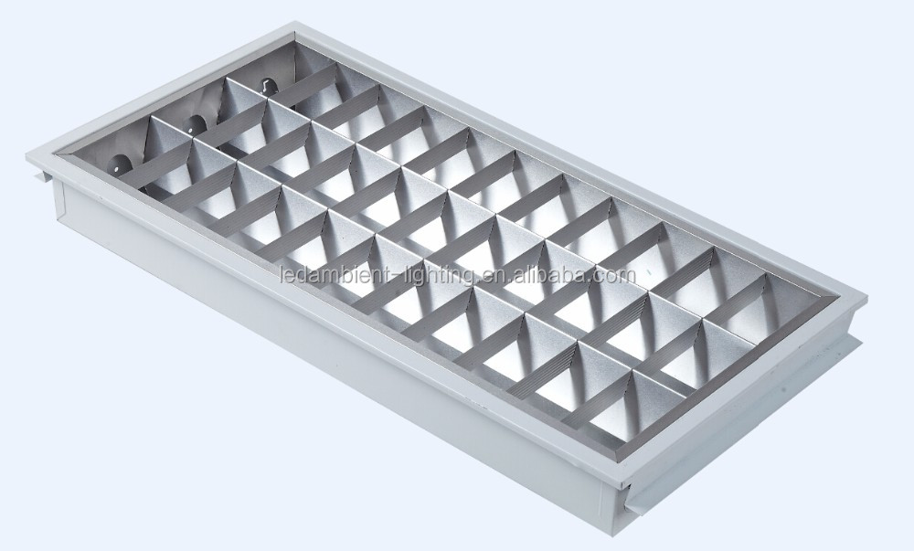 Protective T5 T8 Tube LED Grille Rectangular Recessed Lights Hospital  School Office Ceiling Lamp 3x18w