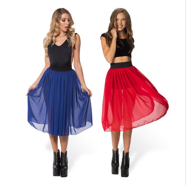 37ea04d97 Get Quotations · Women Tulle Skirt Saia Midi 2015 Summer Style Skirt Red  Chiffon Skirt Women Pleated Skater Skirt
