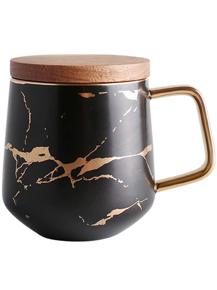 Modern style hand painted marble custom shape gold handle  black custom mug with wooden lid