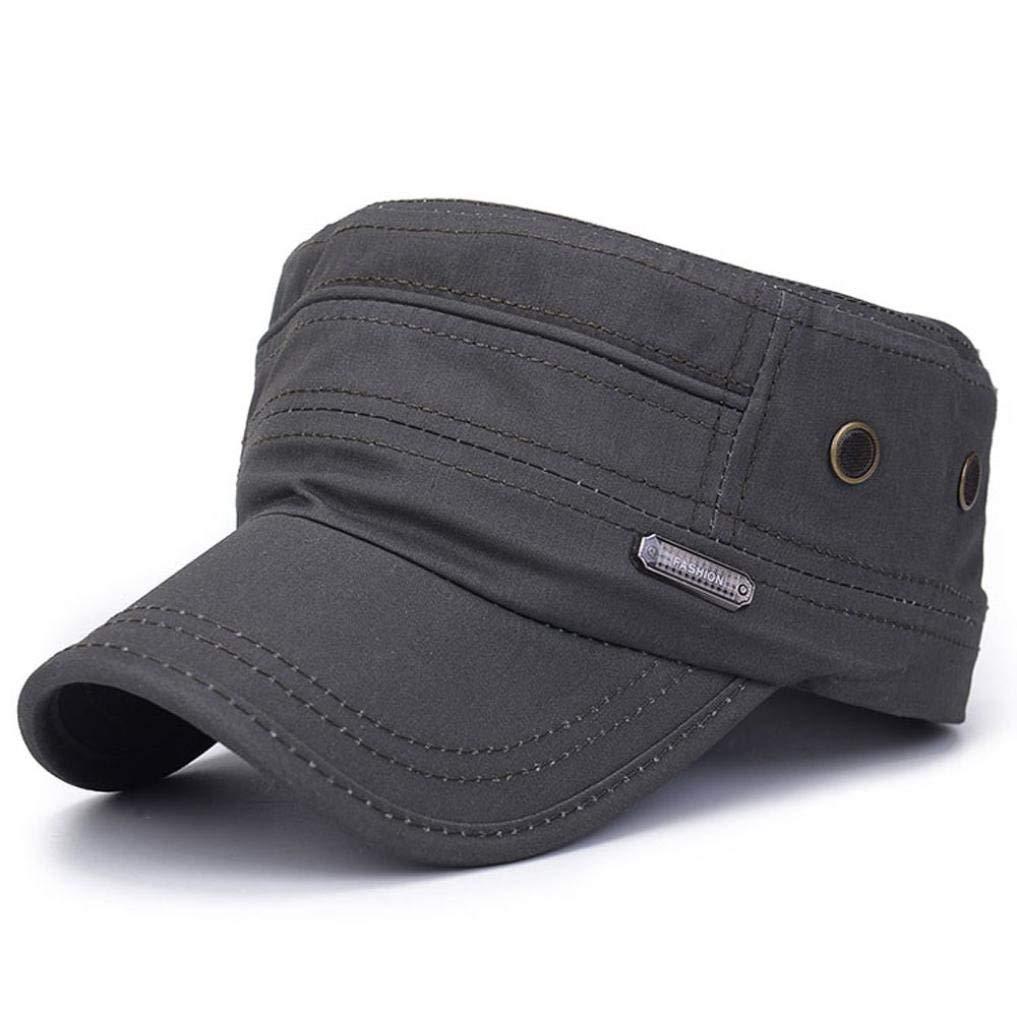 a69da6fa8fb Get Quotations · SUJING Military Caps Vintage Flat Top Cap Army Cap Cadet Hat  Military Flat Top Adjustable Baseball