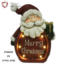 Woodlike red santa carring gift craft figurine christmas decoration supplies with led light