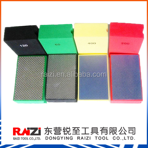 Electroplated diamond hand polishing pad