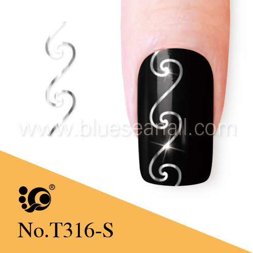 silver glitter tattoo stencil for nail polish charm
