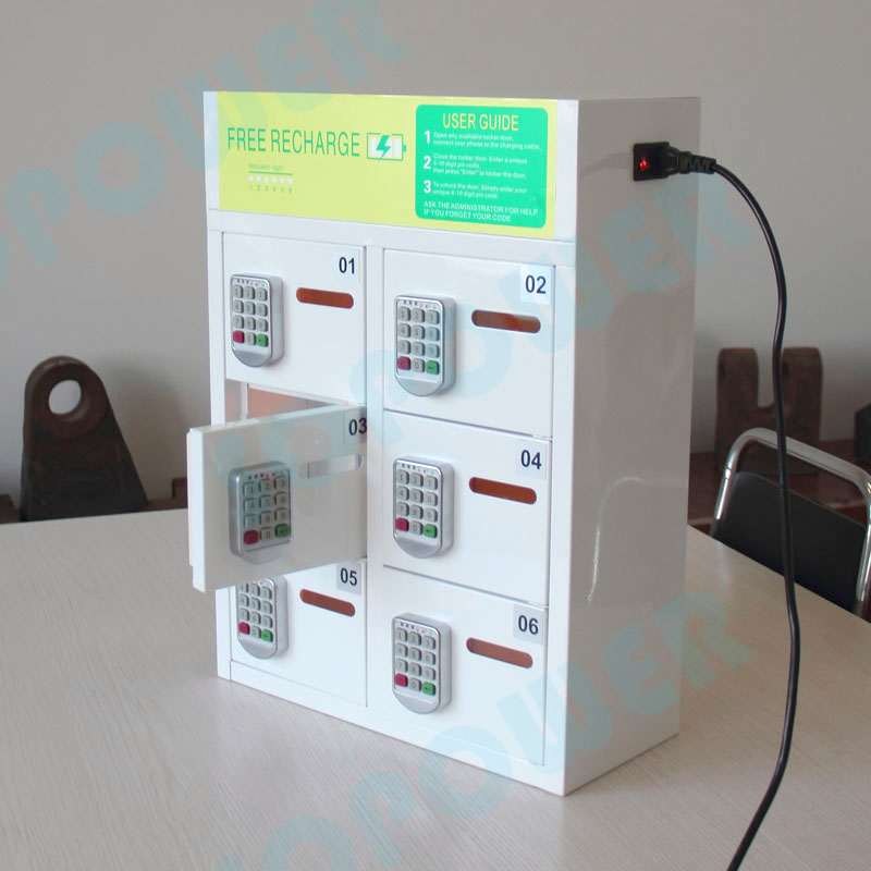 6-Bay Phone Charging Station and Locker with Pin Pad Lock and cell phone charging kiosk/security