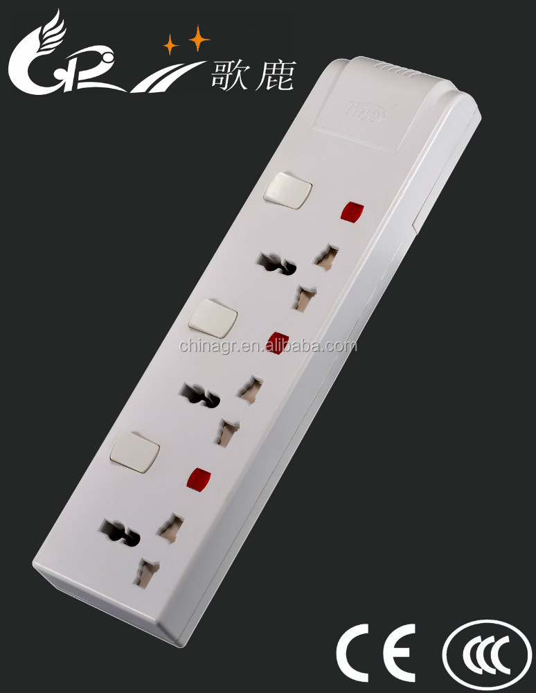 High quality universal eletrical extension socket with plug and indivisual switch
