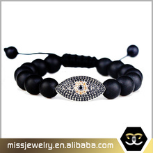 new design wholesale 10mm matt black agate stone bead evil eye bracelet charms, beaded bracelet for men