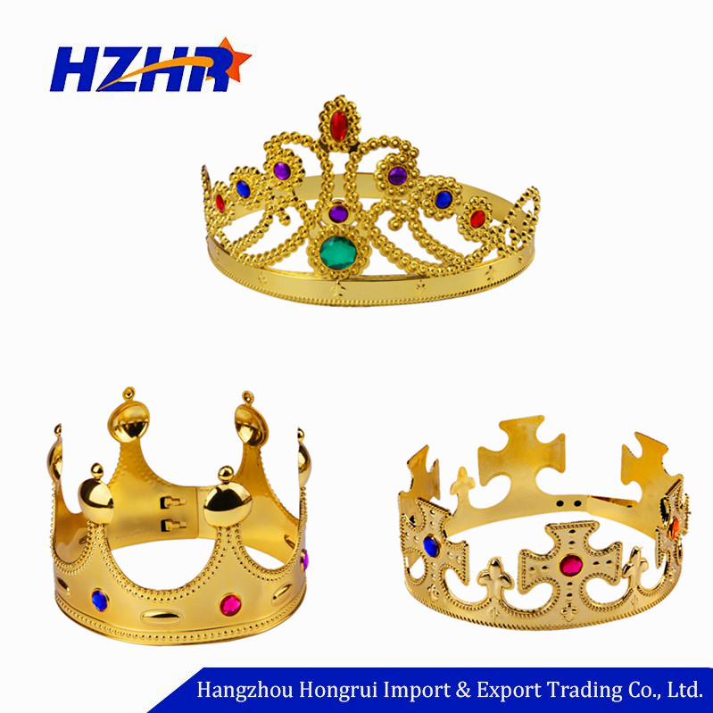 Vendita calda del Partito di Cosplay Accessori di Plastica Oro Re e la Regina Royal Crown