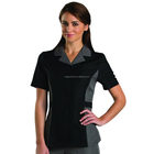 Anti-static finish 100% Polyester Zipper Down Hotel Work Staff Uniform Housekeeping Shirt with Two Deep Front Pocket