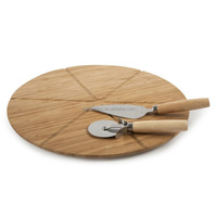 round bamboo pizza cutting board with cutter knife