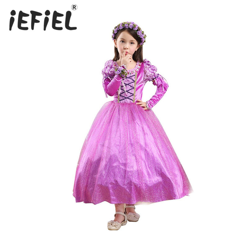 Rapunzel Kids Girls Princess Party Dress Halloween Xmas Tangled Cosplay Costume Party Perform Clothes Fantasia Vestidos