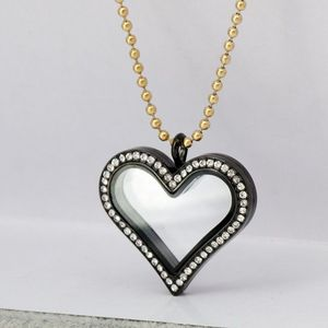 Customized stainless steel glass locket black heart shape black crystal stone pendant