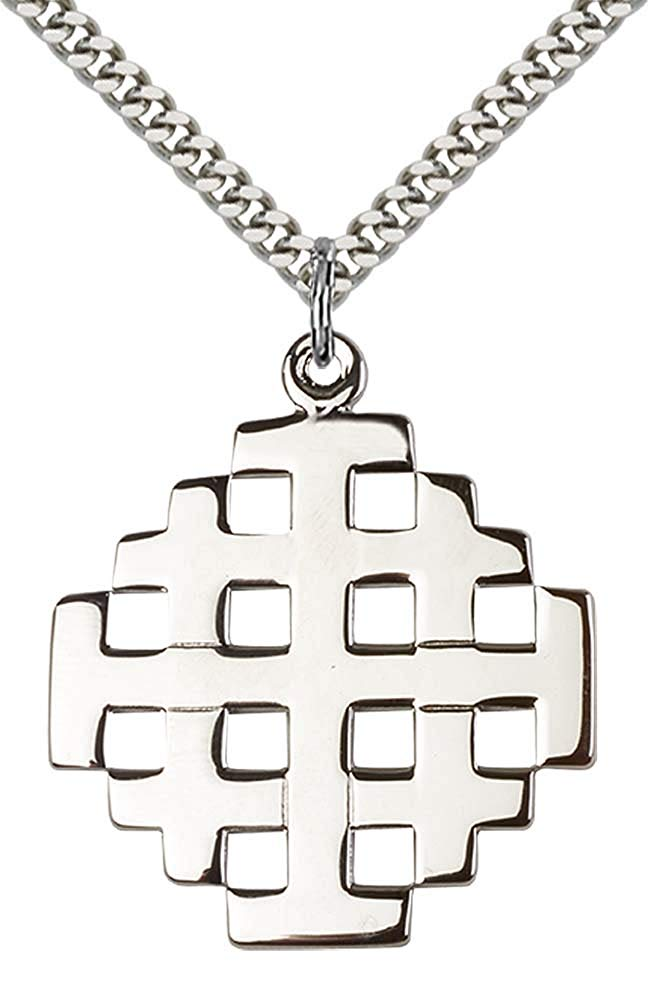 """F A Dumont Sterling Silver Jerusalem Cross Pendant with 24"""" Stainless Steel Heavy Curb Chain."""