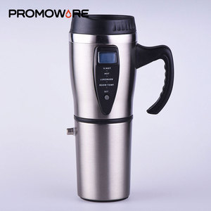 Portable Stainless Steel 12V Temperature Control Coffee Mug Car Heated Thermos Smart Electric Travel Coffee Mug with Handle