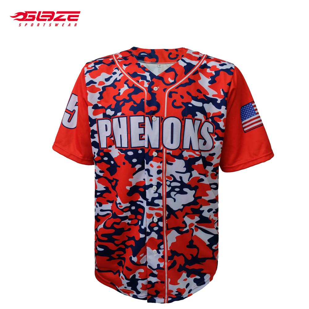 Custom digital printing strip mode camo baseball jersey