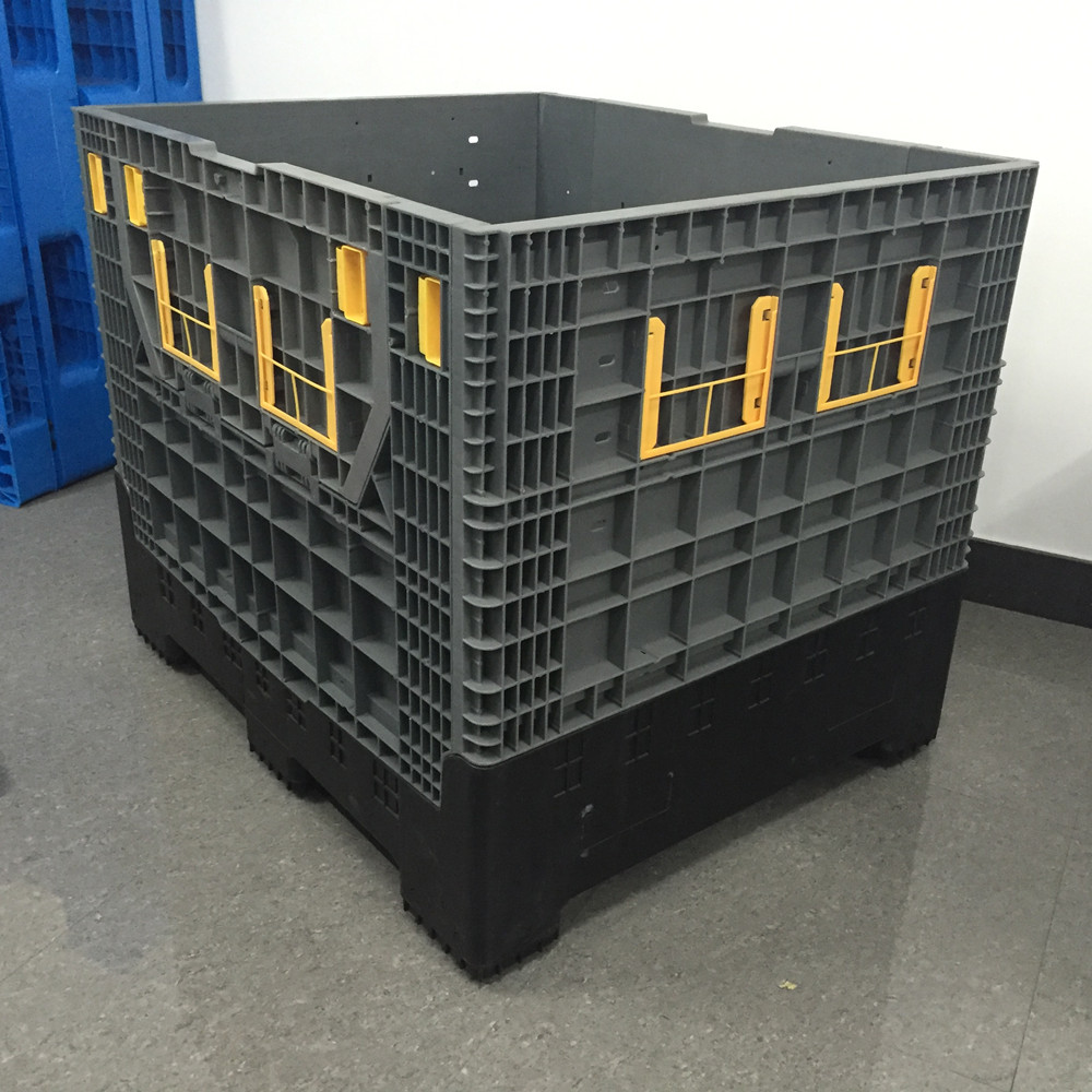 890L Collapsible Pallet Box Parts Bin Rack Container With Steel Insert