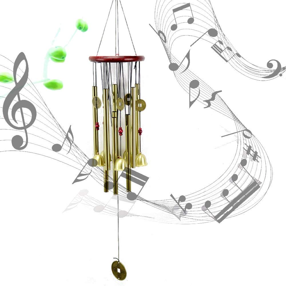 """Newbud Wind Chimes Outdoor, 25"""" Amazing Grace Wind Chimes with 6 Aluminum Tubes Musical Melody Wind Bell for Garden, Patio, Balcony, Indoor Decor with Beautiful Sound"""