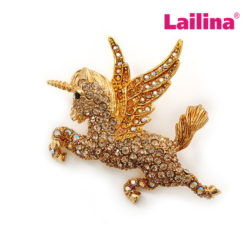 Vintage Retro Wings Unicorn Horse Fashion Brooch Pins Colorful Rhinestone Crystal Gold-tone Pegasus Animal Brooches
