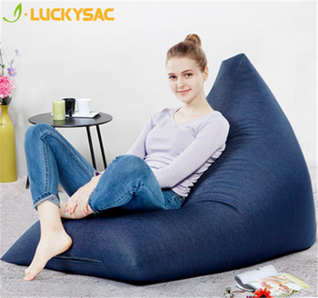 Navy Blue Triangle Shape Beanbag Lazy Chair Adult Bean Bag Chairs Bulk