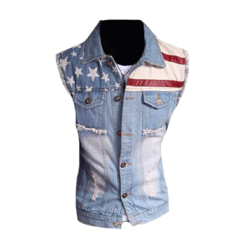 44cb7eca12dc2 Get Quotations · Coolred-Men Sleeveless Jean Waistcoat Popular Jean Jacket  Vest