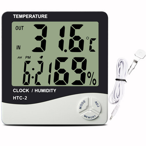 Temperature and Humidity Meter Greenhouse Temperature and Humidity Sensor with Alarm Clock Hygrometer