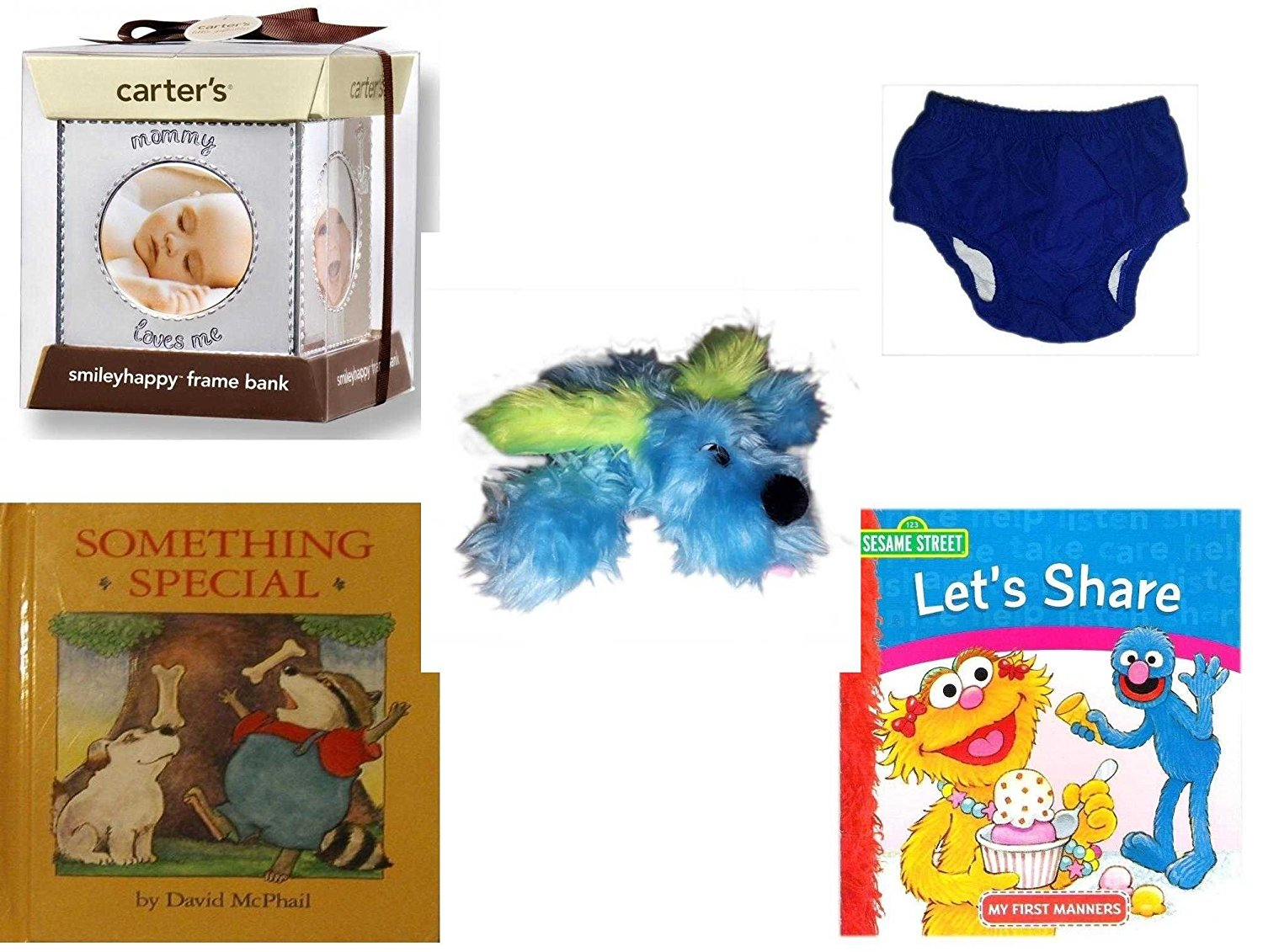Children's Gift Bundle - Ages 0-2 [5 Piece] - Carter's Smily Happy Frame Bank, Silver - Circo Infant Reusable Swim Diaper Royal Blue Size L 24 Months 22-25 lbs - Furry Blue Dog Plush - Something Spe