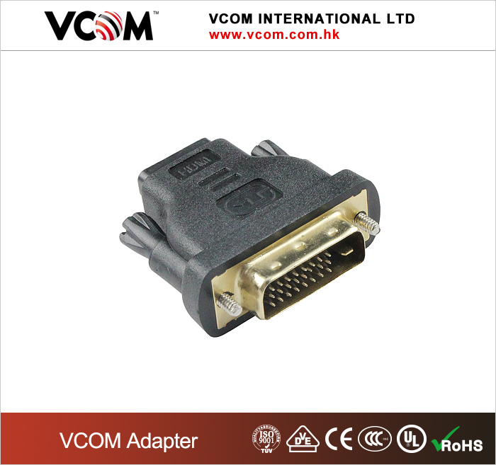 VCOM factory wholesale price high quality gold plated HDMI to DVI adaptor 24+1