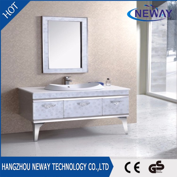 Simple floor standing bathroom vessel sink vanity combos