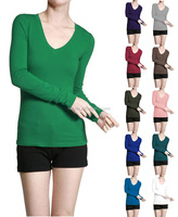Latest Designs Oevesize Basic V Neck Long Sleeve Fitted Solid Top Womens Plain T-Shirt Long Sleeve Polyster Spandex Tops Blouses