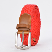 Red New Pure color design cotton braided stretch for jeans fashion weave elastic woman belt