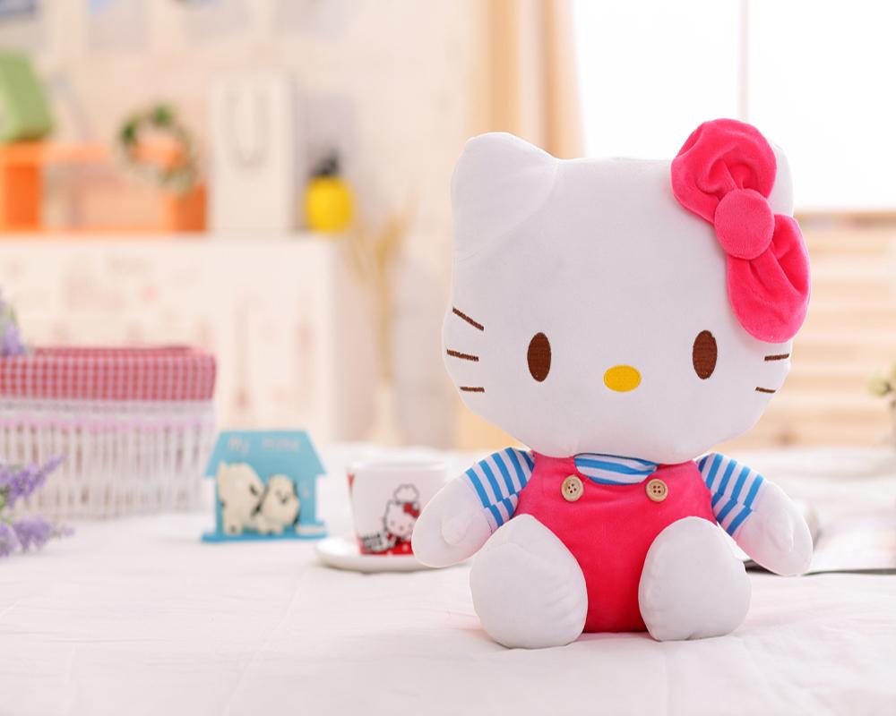Wholesale Customized Lovely White Stuffed Plush Hello Kitty Cat Doll