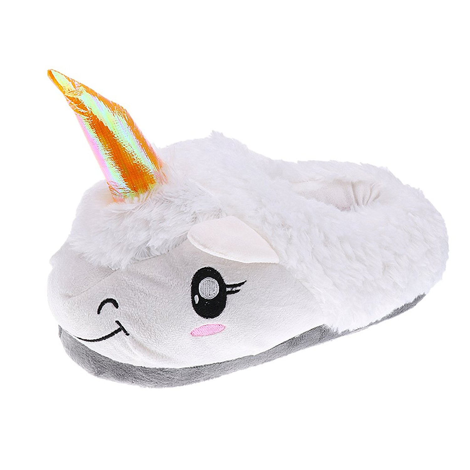 09381ca25 Get Quotations · Dovewill Mens Womens Novelty Unicorn Slip On Plush Slippers  Cosy Fluffy Cotton Shoes