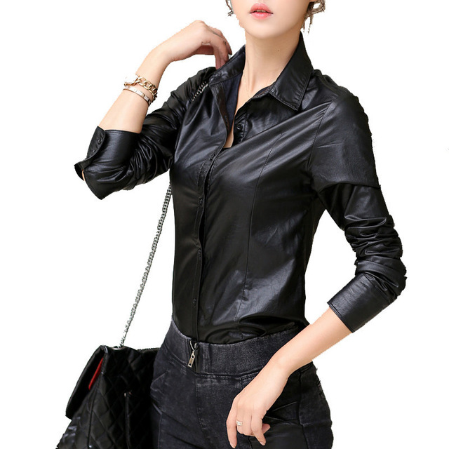 Vintage Spring PU Leather Shirt Women Blouses Fashion Casual Ropa Mujer Roupas Lng sleeved Autumn Winter Black Shirts