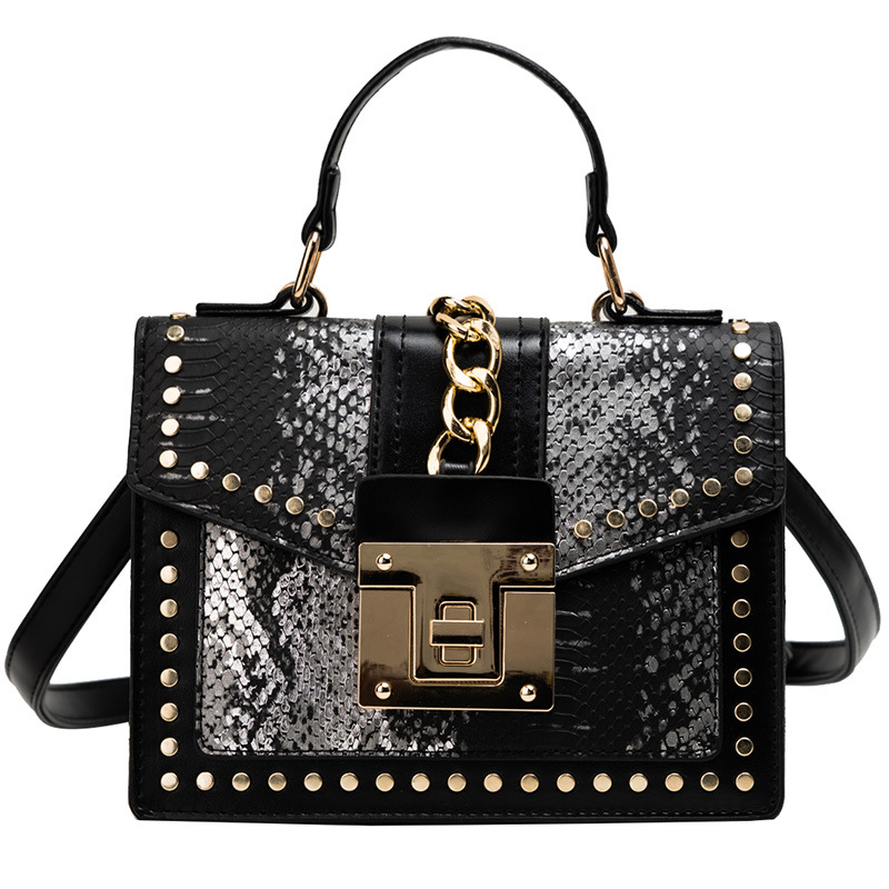 Personality hot sell women handbag with rivet and snake grain new fashion chain decoration crossbody shoulder bag