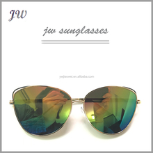 Fashionable vintage hot sale metal cat eye mirror aviator sunglasses