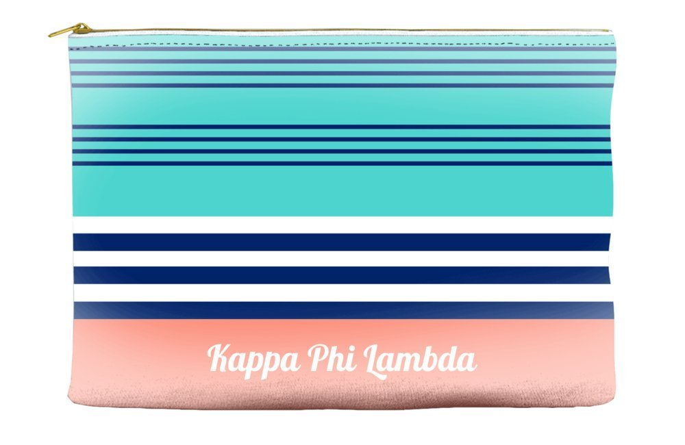 Kappa Phi Lambda Color Block Teal Cosmetic Accessory Pouch Bag for Makeup Jewelry & other Essentials