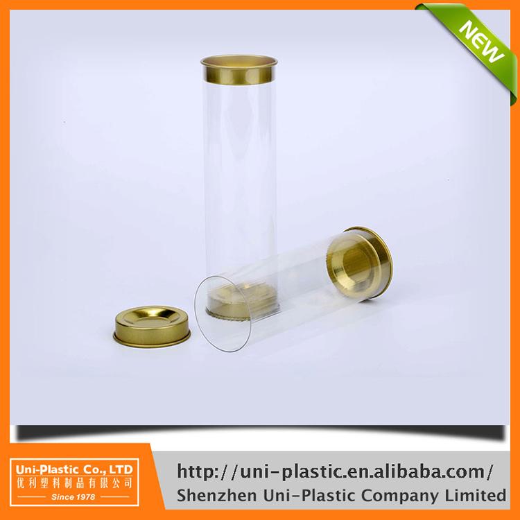Transparante PVC of PET clear plastic buis verpakking met caps, naadloze Verpakkingen Buizen