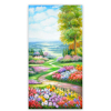 Realistic beautiful pictures flower field tuscan landscape oil painting
