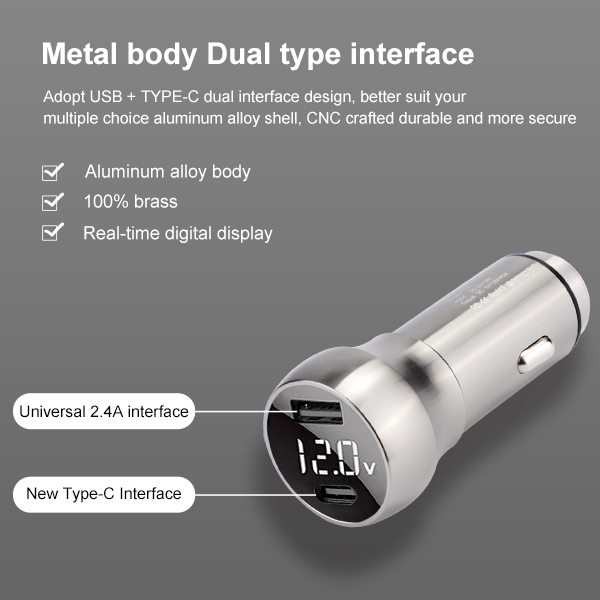 Quick Charge QC3.0 Type-C Digital Display car charger 12V