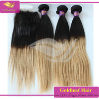 Cheap 4x4 brazilian hair extensions lace closure with baby hairs, two tone ombre hair extension lace closure wholesale